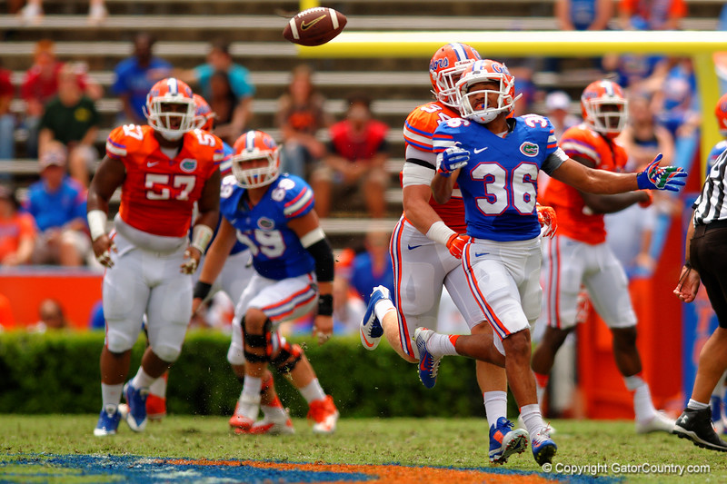 Florida Gators wide reveiver Roger Dixon is unable to haul in a pass during the 2015 Orange and Blue Debut.  April 11th 2015. Gator Country photo by David Bowie.