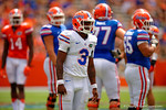 Florida Gators quarterback Treon Harris looks to the sideline for the call during the 2015 Orange and Blue Debut.  April 11th 2015. Gator Country photo by David Bowie.