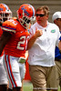 Florida Gators head coach Jim McElwain talks with Florida Gators defensive back Marcus Maye during the 2015 Orange and Blue Debut.  April 11th 2015. Gator Country photo by David Bowie.