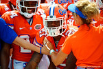Florida Gators running back Kelvin Taylor and the Gators wait to take the field during the 2015 Orange and Blue Debut.  April 11th 2015. Gator Country photo by David Bowie.