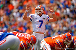 Florida Gators quarterback Will Grier audibles at the line during the 2015 Orange and Blue Debut.  April 11th 2015. Gator Country photo by David Bowie.