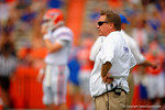 Florida Gators head coach Jim McElwain watches on as his team warms up during the 2015 Orange and Blue Debut.  April 11th 2015. Gator Country photo by David Bowie.