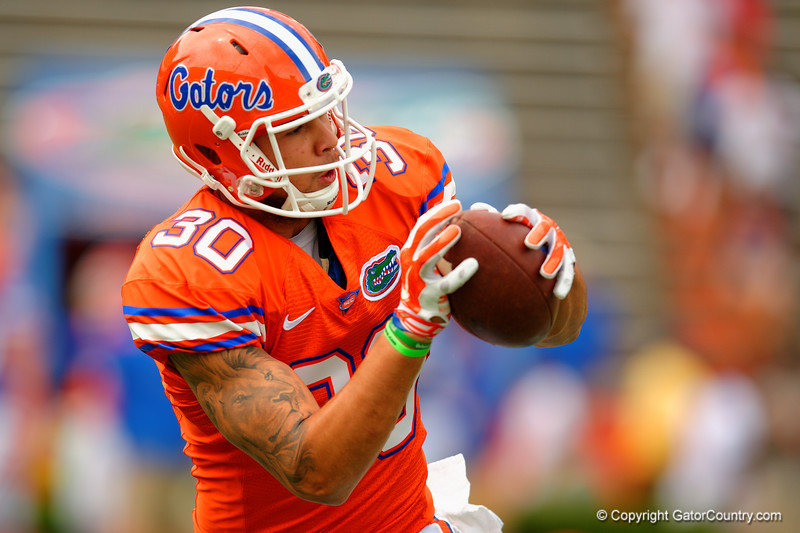 Florida Gators tight end DeAndre Goolsby makes a catch in warm up drills during the 2015 Orange and Blue Debut.  April 11th 2015. Gator Country photo by David Bowie.