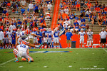 Florida Gators kicker Jorge Powell kicks in a field goal for teh Blue team during the 2015 Orange and Blue Debut.  April 11th 2015. Gator Country photo by David Bowie.