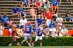 Florida Gators defensive back Vernon Hargreaves, III leaps way up into the sky to attempt the interception on the last play of the game during the 2015 Orange and Blue Debut.  April 11th 2015. Gator Country photo by David Bowie.