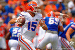 Florida Gators quarterback Jacob Guy scrambles as he looks downfield during the 2015 Orange and Blue Debut.  April 11th 2015. Gator Country photo by David Bowie.