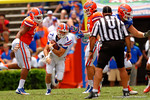 Florida Gators quarterback Will Grier takes off downfield during the 2015 Orange and Blue Debut.  April 11th 2015. Gator Country photo by David Bowie.