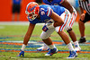 Florida Gators defensive lineman Justus Reed gets set for a snap during the 2015 Orange and Blue Debut.  April 11th 2015. Gator Country photo by David Bowie.
