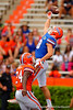 Florida Gators wide receiver C.J. Worton leaps into the air but is unable to come away with the ball during the 2015 Orange and Blue Debut.  April 11th 2015. Gator Country photo by David Bowie.