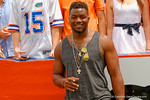 Former Florida Gators defesive end Dante Fowler Jr. poses for the camera during the 2015 Orange and Blue Debut.  April 11th 2015. Gator Country photo by David Bowie.