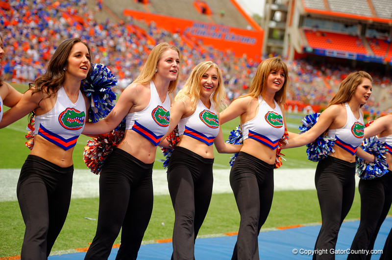 The Dazzlers singing We Are The Boys before the fourth quarter during the 2015 Orange and Blue Debut.  April 11th 2015. Gator Country photo by David Bowie.