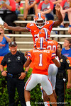 Florida Gators defensive back Brian Poole leaps into the air in celebration during the 2015 Orange and Blue Debut.  April 11th 2015. Gator Country photo by David Bowie.