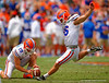Florida Gators kicker Austin Hardin kicks in a field goal during the 2015 Orange and Blue Debut.  April 11th 2015. Gator Country photo by David Bowie.