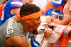 Florida Gators defensive back Vernon Hargreaves, III signs autographs and takes photos with the fans during the 2015 Orange and Blue Debut.  April 11th 2015. Gator Country photo by David Bowie.