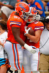 Florida Gators wide receiver Case Harrison tips toes and sideline and rushes into the endzone during the 2015 Orange and Blue Debut.  April 11th 2015. Gator Country photo by David Bowie.