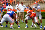Florida Gators head coach Jim McElwain watches from behind the line of scrimmage during the 2015 Orange and Blue Debut.  April 11th 2015. Gator Country photo by David Bowie.