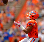 Florida Gators defensive back Vernon Hargreaves, III eyes in a punt during the 2015 Orange and Blue Debut.  April 11th 2015. Gator Country photo by David Bowie.