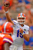 Florida Gators quarterback Jacob Guy throwing dowfnield during the 2015 Orange and Blue Debut.  April 11th 2015. Gator Country photo by David Bowie.