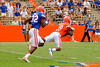 Florida Gators wide receiver Alvin Bailey makes a diving catch for a 42 yard gain while being covered by Florida Gators wide receiver D.L. Powell during the 2015 Orange and Blue Debut.  April 11th 2015. Gator Country photo by David Bowie.