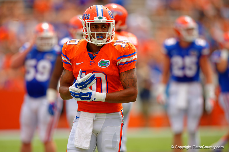 Florida Gators wide receiver Valdez Showers looks to the sideline during the 2015 Orange and Blue Debut.  April 11th 2015. Gator Country photo by David Bowie.