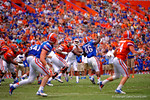 Florida Gators quarterback Treon Harris throws to Florida Gators wide receiver Case Harrison during the 2015 Orange and Blue Debut.  April 11th 2015. Gator Country photo by David Bowie.