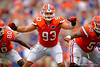 Florida Gators offensive lineman Taven Bryan blocking during the 2015 Orange and Blue Debut.  April 11th 2015. Gator Country photo by David Bowie.