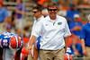 Florida Gators head coach Jim McElwain flashes a smile during the 2015 Orange and Blue Debut.  April 11th 2015. Gator Country photo by David Bowie.