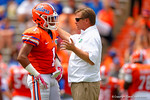 Florida Gators head coach Jim McElwain coaching up Florida Gators defensive back Vernon Hargreaves, III during the 2015 Orange and Blue Debut.  April 11th 2015. Gator Country photo by David Bowie.