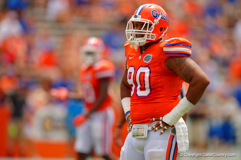 Florida Gators defensive lineman Jonathan Bullard waits for play to resume during the 2015 Orange and Blue Debut.  April 11th 2015. Gator Country photo by David Bowie.