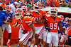 Florida Gators defensive back Jalen Tabor, Florida Gators running back Kelvin Taylor and Florida Gators wide receiver Alvin Bailey and the Gators wait to take the field during the 2015 Orange and Blue Debut.  April 11th 2015. Gator Country photo by David Bowie.