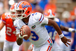 Florida Gators quarterback Treon Harris scrambles downfield during the 2015 Orange and Blue Debut.  April 11th 2015. Gator Country photo by David Bowie.
