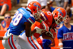 Florida Gators tight end DeAndre Goolsby is tackled by Florida Gators linebacker Jeremi Powell during the 2015 Orange and Blue Debut.  April 11th 2015. Gator Country photo by David Bowie.