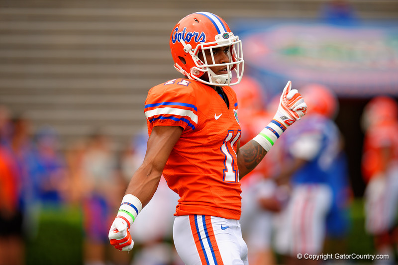 Florida Gators wide receiver Demarcus Robinson dancing prior to kickoff for 2015 Orange and Blue Debut.  April 11th 2015. Gator Country photo by David Bowie.
