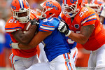 Florida Gators defensive lineman Justus Reed explodes across the line to make a tackle on Florida Gators running back Kelvin Taylor during the 2015 Orange and Blue Debut.  April 11th 2015. Gator Country photo by David Bowie.