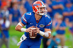 Florida Gators quarterback Will Grier rolls out looking downfield during the second half as the Gators come from behind late in the fourth quarter at home to beat the Tennessee Volunteers 28-27.  September 26th, 2015. Gator Country photo by David Bowie.