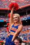 A Florida Gators cheerleader cheers on as the Gators come from behind late in the fourth quarter at home to beat the Tennessee Volunteers 28-27.  September 26th, 2015. Gator Country photo by David Bowie.