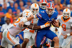 Florida Gators quarterback Will Grier tries to break free of a tackle during the second half as the Gators come from behind late in the fourth quarter at home to beat the Tennessee Volunteers 28-27.  September 26th, 2015. Gator Country photo by David Bowie.