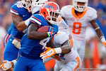 Florida Gators running back Brandon Powell trows out a stiff arm during the second half as the Gators come from behind late in the fourth quarter at home to beat the Tennessee Volunteers 28-27.  September 26th, 2015. Gator Country photo by David Bowie.