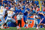 Florida Gators quarterback Will Grier throwing during the fiirst half as the Gators come from behind late in the fourth quarter at home to beat the Tennessee Volunteers 28-27.  September 26th, 2015. Gator Country photo by David Bowie.