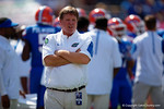Florida Gators head coach Jim McElwain watches on during pregame as the Gators come from behind late in the fourth quarter at home to beat the Tennessee Volunteers 28-27.  September 26th, 2015. Gator Country photo by David Bowie.