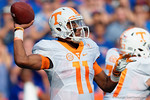 Tennessee Volunteers quarterback Joshua Dobbs throws downfield in the first half as the Gators come from behind late in the fourth quarter at home to beat the Tennessee Volunteers 28-27.  September 26th, 2015. Gator Country photo by David Bowie.