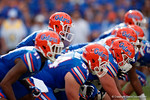 Florida Gators quarterback Will Grier and the offense at the line as the Gators come from behind late in the fourth quarter at home to beat the Tennessee Volunteers 28-27.  September 26th, 2015. Gator Country photo by David Bowie.