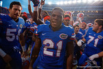 Florida Gators running back Kelvin Taylor and the Gators celebrate after the win as the Gators come from behind late in the fourth quarter at home to beat the Tennessee Volunteers 28-27.  September 26th, 2015. Gator Country photo by David Bowie.