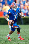 Florida Gators quarterback Will Grier scrambling downfield in the first half as the Gators come from behind late in the fourth quarter at home to beat the Tennessee Volunteers 28-27.  September 26th, 2015. Gator Country photo by David Bowie.