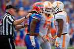 Florida Gators linebacker Daniel McMillian and two Volunteer players start a shoving match as the Gators come from behind late in the fourth quarter at home to beat the Tennessee Volunteers 28-27.  September 26th, 2015. Gator Country photo by David Bowie.