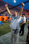 Florida Gators head coach Jim McElwain gives the crowd a thumbs up following the Gators win as the Gators come from behind late in the fourth quarter at home to beat the Tennessee Volunteers 28-27.  September 26th, 2015. Gator Country photo by David Bowie.