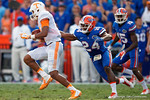 Florida Gators defensive back Brian Poole attempts to tackle Vols quarterback Joshua Dobbs as the Gators come from behind late in the fourth quarter at home to beat the Tennessee Volunteers 28-27.  September 26th, 2015. Gator Country photo by David Bowie.