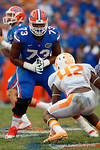 Florida Gators offensive lineman Martez Ivey blocking during the second half as the Gators come from behind late in the fourth quarter at home to beat the Tennessee Volunteers 28-27.  September 26th, 2015. Gator Country photo by David Bowie.