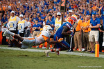Florida Gators running back Brandon Powell sprints toward the endzone bringing the score to 27-20 during the second half as the Gators come from behind late in the fourth quarter at home to beat the Tennessee Volunteers 28-27.  September 26th, 2015. Gator Country photo by David Bowie.