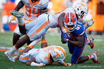 Florida Gators wide receiver Antonio Callaway is tackled following a catch as the Gators come from behind late in the fourth quarter at home to beat the Tennessee Volunteers 28-27.  September 26th, 2015. Gator Country photo by David Bowie.